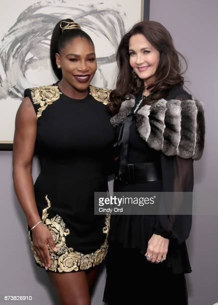 Serena Williams and Lynda Carter pose backstage at Glamour's 2017 Women of The Year Awards at Kings Theatre on November 13 2017 in Brooklyn New York