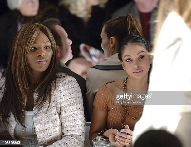 Serena Williams and Mya during Olympus Fashion Week Fall 2006 Luca Luca Front Row and Backstage at Bryant Park in New York City New York United States