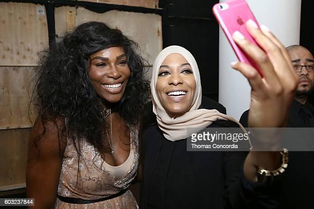 Serena Williams and Olympic athlete Ibtihaj Muhammad attend HSN Presents Serena Williams Signature Statement Collection Fashion Show at Kia STYLE360...