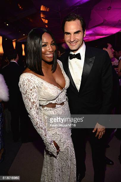 Serena Williams and Roger Federer attend the 2016 Vanity Fair Oscar Party Hosted By Graydon Carter at the Wallis Annenberg Center for the Performing...