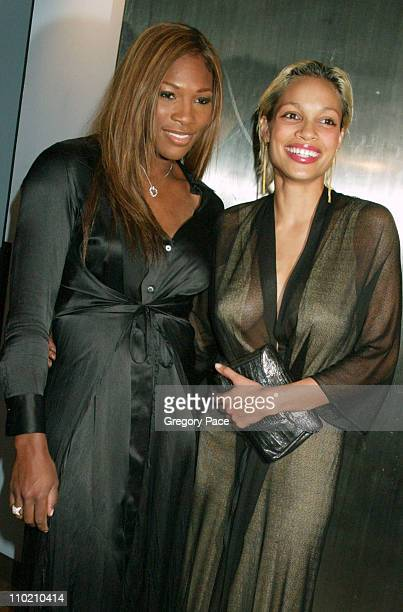 Serena Williams and Rosario Dawson during Olympus Fashion Week Spring 2005 Calvin Klein Front Row and Backstage at Milk Studios 450 W 15th Street in...