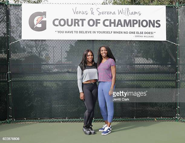 Serena Williams and Venus Williams attend the Venus and Serena Williams Court of Champions dedication ceremony during Healthy Compton 2016 Community...