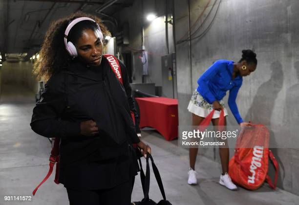 Serena Williams and Venus Williams of United States arrive for their tennis match during Day 8 of BNP Paribas Open on March 12 2018 in Indian Wells...