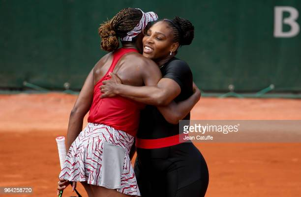 Serena Williams and Venus Williams of USA during Day Four of the 2018 French Open at Roland Garros on May 30, 2018 in Paris, France.