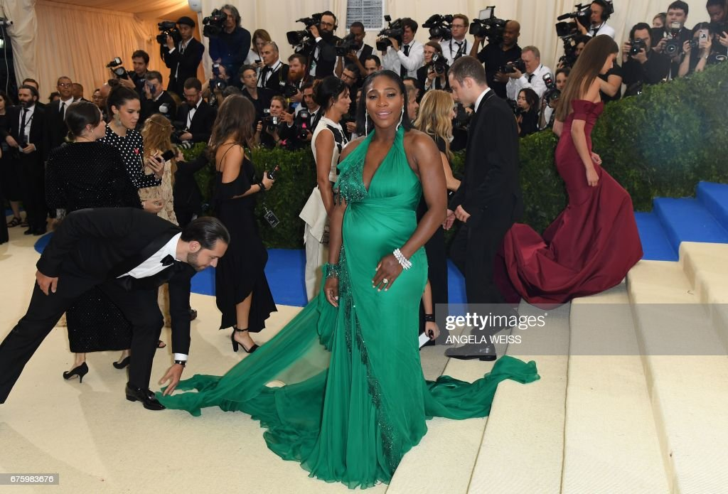 TOPSHOT - Serena Williams arrives at the Costume Institute Benefit May 1, 2017 at the Metropolitan Museum of Art in New York. /