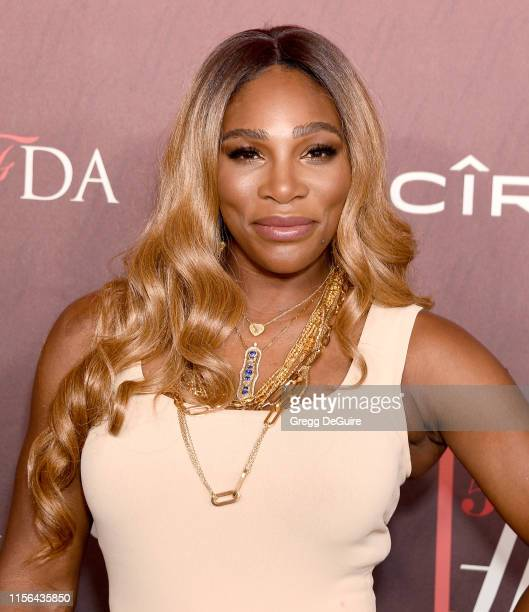 Serena Williams arrives at the Sports Illustrated Fashionable 50 at The Sunset Room on July 18, 2019 in Los Angeles, California.
