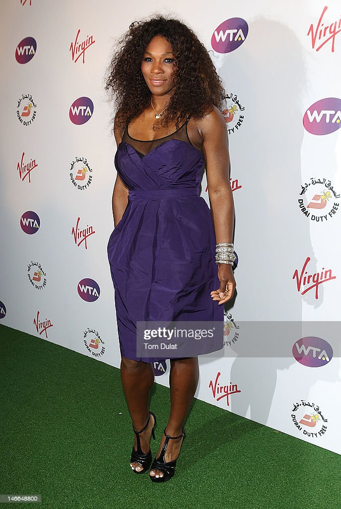 Serena Williams arrives at the WTA Tour Pre-Wimbledon Party at The Roof Gardens, Kensington on June 21, 2012 in London, England.