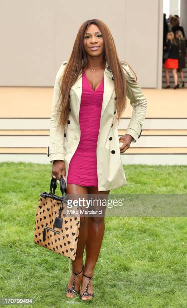 Serena Williams arrives for the Burberry Prorsum show at the London Collections: MEN SS14 at Kensington Gardens on June 18, 2013 in London, England.