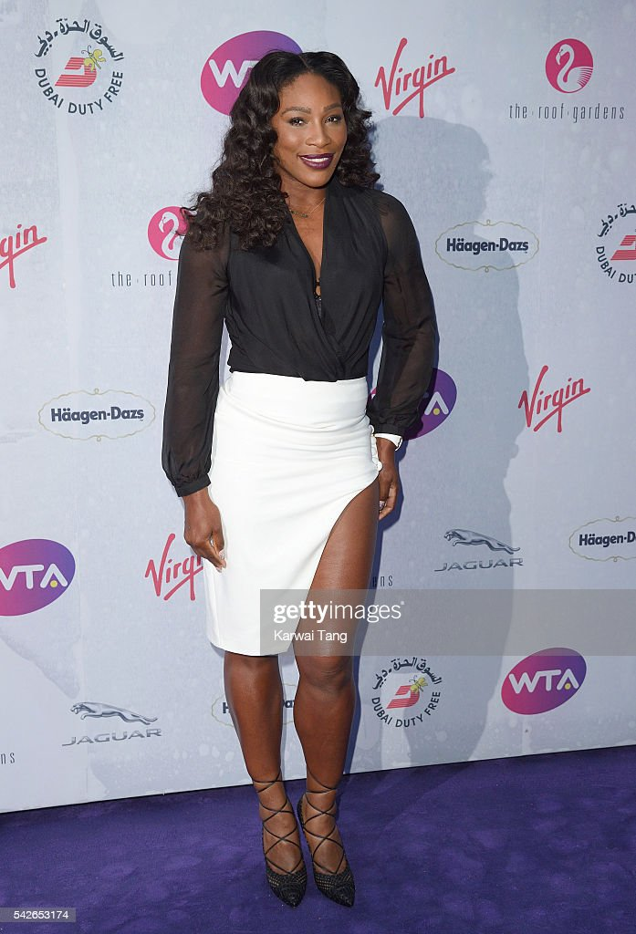 Serena Williams arrives for the WTA Pre-Wimbledon Party at Kensington Roof Gardens on June 23, 2016 in London, England.