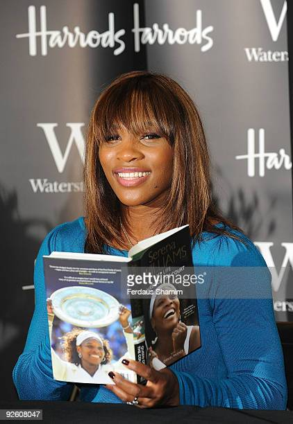 Serena Williams attends her book signing at Harrods on November 2, 2009 in London, England.