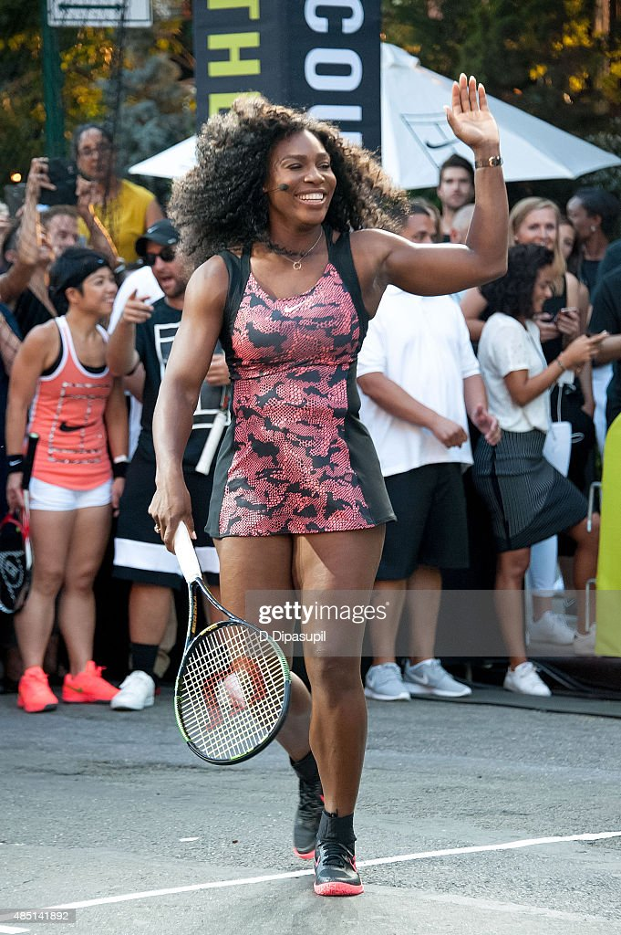 Serena Williams attends Nike's 'NYC Street Tennis' event on August 24, 2015 in New York City.