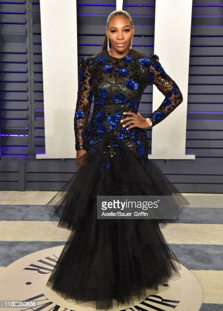 Serena Williams attends the 2019 Vanity Fair Oscar Party Hosted By Radhika Jones at Wallis Annenberg Center for the Performing Arts on February 24,...