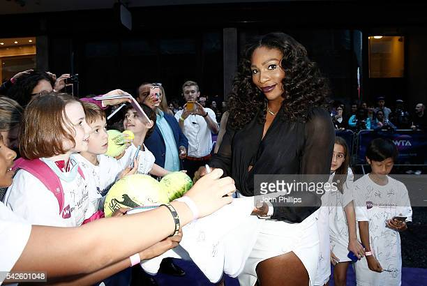 Serena Williams attends the annual WTA PreWimbledon Party presented by Dubai Duty Free at the Kensington Roof Gardens on June 23 2016 in London...