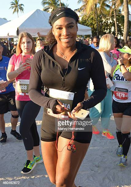 Serena Williams attends the First Annual Serena Williams Ultimate 5k Run on December 14 2014 in Miami Beach Florida