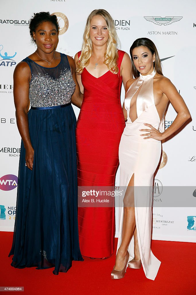 Serena Williams, Caroline Wozniacki and Eva Longoria attend the Champ'Seed party on May 19, 2015 in Monaco, Monaco.