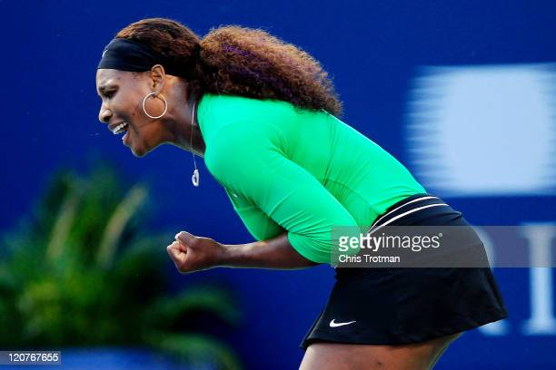 Serena Williams celebrates a point against Alona Bondarenko of the Ukraine on Day 2 of the Rogers Cup presented by National Bank at the Rexall Centre...