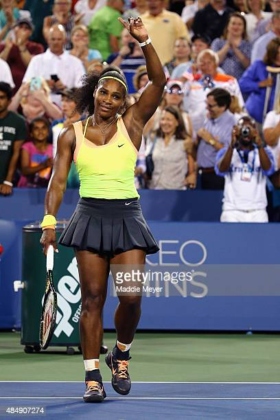 Serena Williams celebrates after defeating Elina Svitolina of Ukraine in the semifinals on Day 8 of the Western Southern Open at the Lindner Family...