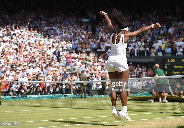 Serena Williams celebrates after her victory in the Final Of The Ladies' Singles against Garbine Muguruza of Spain during day twelve of the Wimbledon...