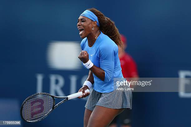 Serena Williams celebrates during her 7664 win over Agnieszka Radwanska of Poland during the semifinals of the Rogers Cup Toronto at Rexall Centre at...