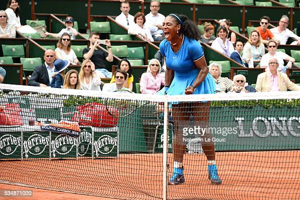 Serena Williams celebrates during the Women's Singles third round on day seven of the French Open 2016 on May 28 2016 in Paris France