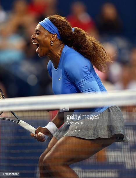 Serena Williams celebrates her 7664 win over Agnieszka Radwanska of Poland during the semifinals of the Rogers Cup Toronto at Rexall Centre at York...