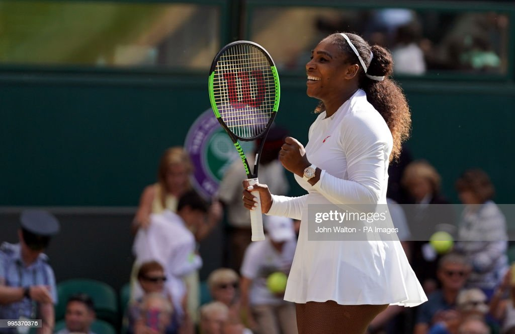 Serena Williams celebrates her win against Camila Giorgi on day eight of the Wimbledon Championships at the All England Lawn Tennis and Croquet Club, Wimbledon.