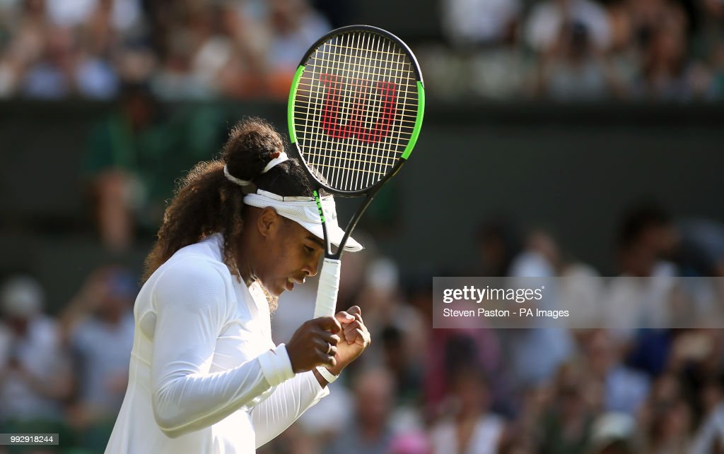 Serena Williams celebrates her win against Kristina Mladenovic on day five of the Wimbledon Championships at the All England Lawn Tennis and Croquet Club, Wimbledon.