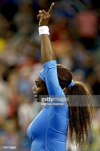 Serena Williams celebrates her win over Na Li of China during the semifinals of the Western Southern Open on August 17 2013 at Lindner Family Tennis...
