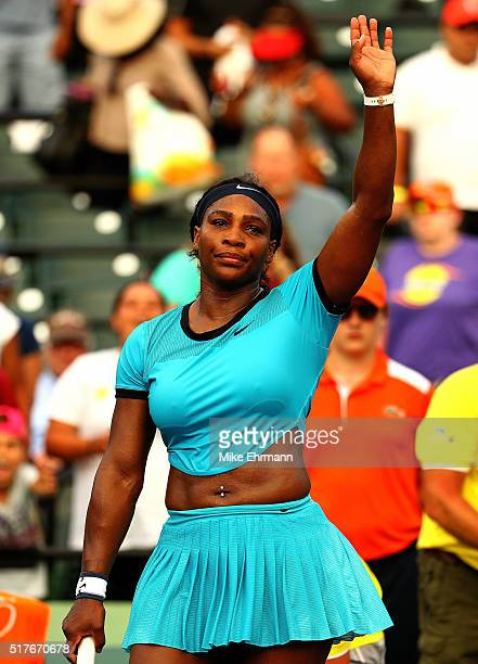 Serena Williams celebrates winnig a match against Zarina Diyas of Kazakhstan during Day 6 of the Miami Open presented by Itau at Crandon Park Tennis...