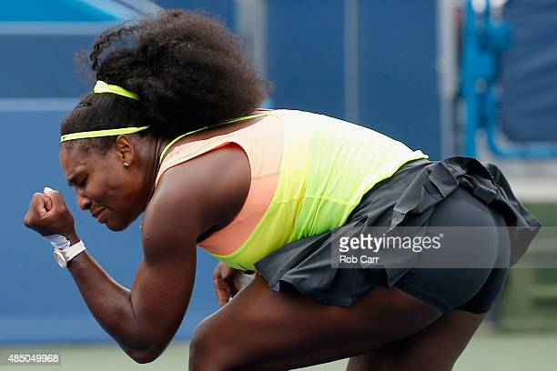 Serena Williams celebrates winning a point against Simona Halep of Romania during her womens finals win at the Western Southern Open at the Linder...