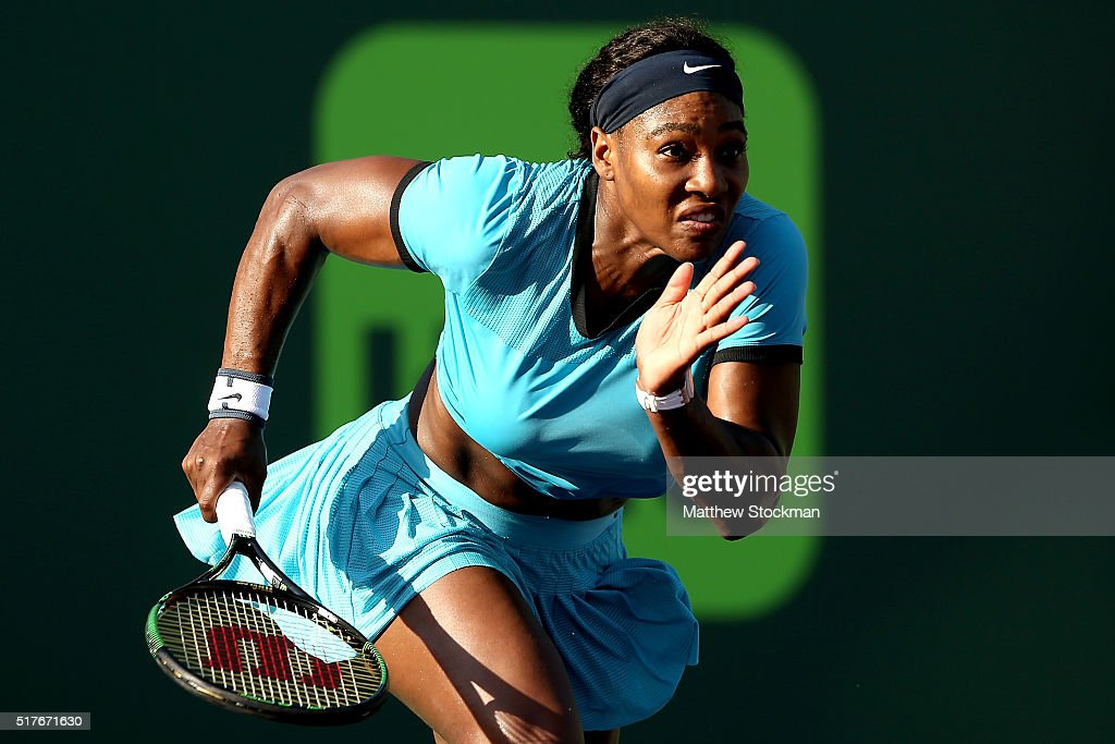 Serena Williams chases down a shot while playing Zarina Diyas of Kazakhstan during the Miami Open presented by Itau at Crandon Park Tennis Center on March 26, 2016 in Key Biscayne, Florida.