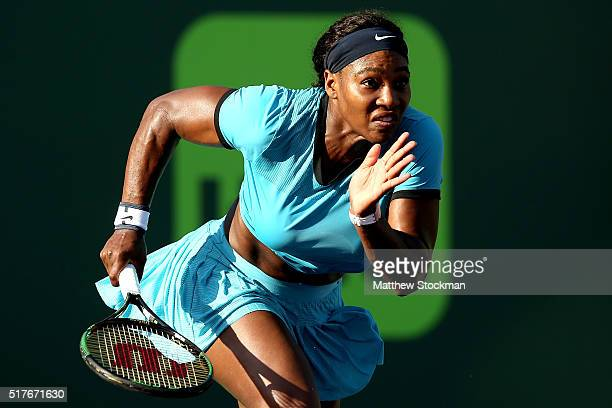 Serena Williams chases down a shot while playing Zarina Diyas of Kazakhstan during the Miami Open presented by Itau at Crandon Park Tennis Center on...