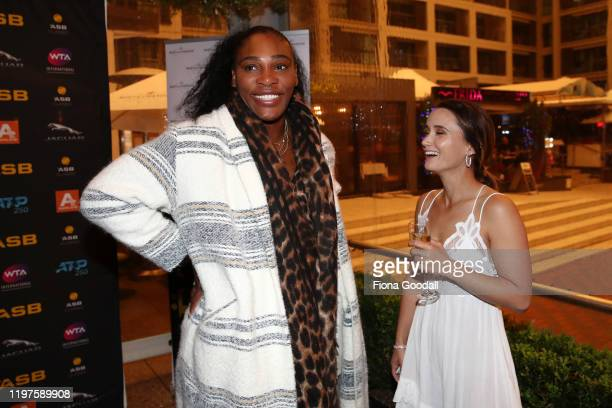 Serena Williams chats to fellow player Lauren Davis of USA during the 2020 ASB Classic Players Party at Soul Bar on January 05, 2020 in Auckland, New...