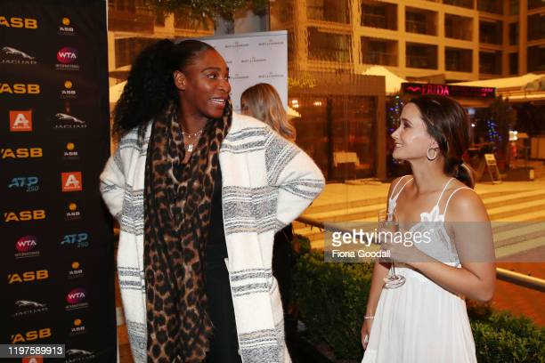 Serena Williams chats to fellow player Lauren Davis of USA during the 2020 ASB Classic Players Party at Soul Bar on January 05 2020 in Auckland New...