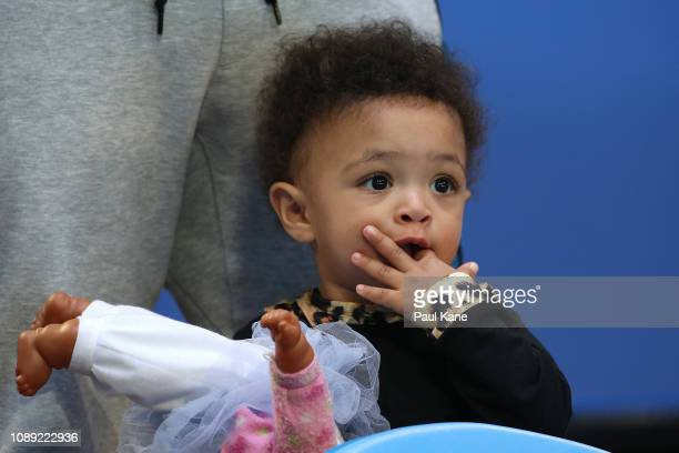Serena Williams' daughter Alexis Olympia Ohanian Jr looks on following the women's singles match between Serena Williams of the United States and...