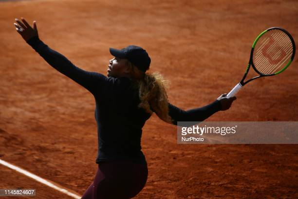 Serena Williams during a training session on Phillipe Chatrier court preparing for Roland Garros finals in Paris, France, on 24 May 2019.