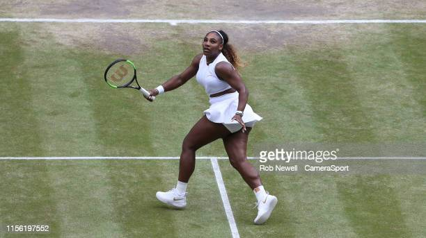 Serena Williams during her match against Simona Halep in their Ladies' Singles Final match during Day 12 of The Championships Wimbledon 2019 at All...