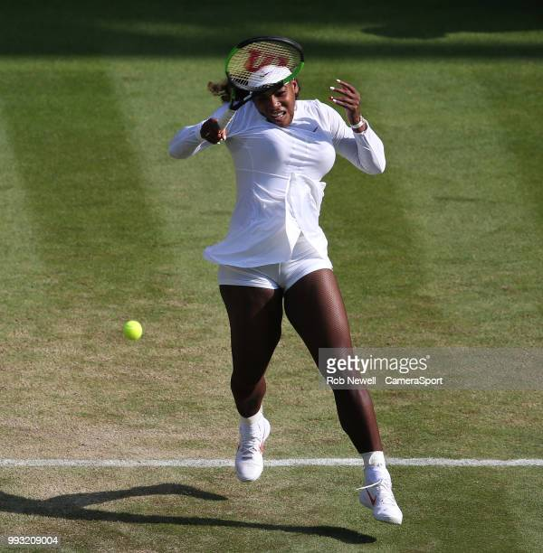 Serena Williams during her victory over Kristina Mladenovic in their Ladies' Singles Third Round match at All England Lawn Tennis and Croquet Club on...