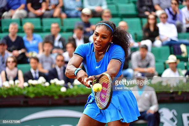 Serena Williams during the Women's Singles second round on day five of the French Open 2016 at Roland Garros on May 26 2016 in Paris France