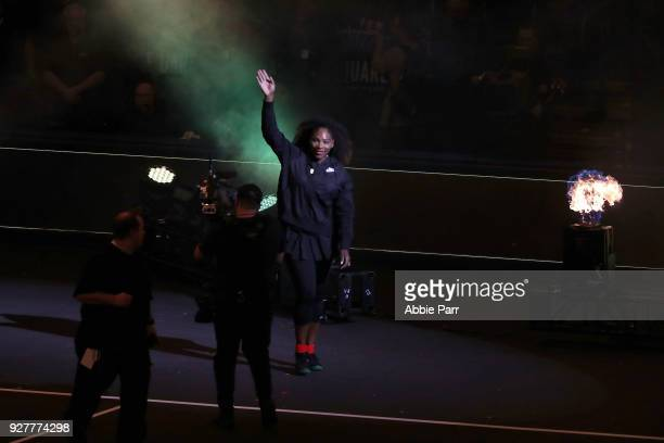 Serena Williams enters the court prior to competing in the Tie Break Tens at Madison Square Garden on March 5 2018 in New York City