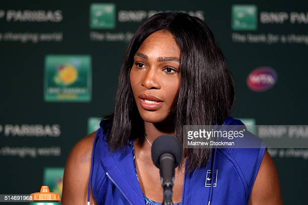 Serena Williams fields questions from the media during the BNP Paribas Open at the Indian Wells Tennis Garden on March 10 2016 in Indian Wells...