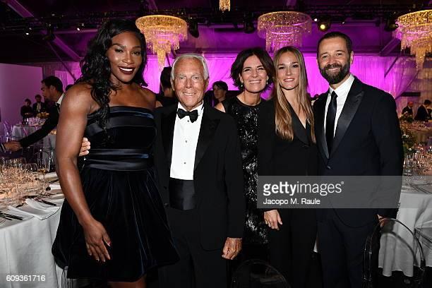 Serena Williams, Giorgio Armani, Roberta Armani, Johanna Hauksdottir and Fabio Volo attend the Milano Gala Dinner benefitting the Novak Djokovic...