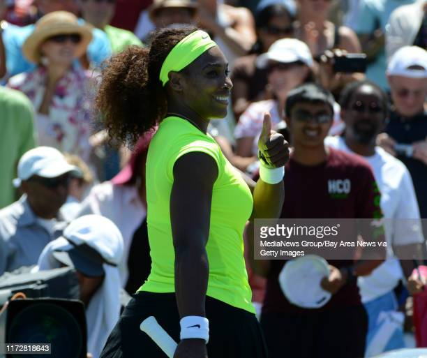 Serena Williams gives a thumbs-up following her 7-5, 6-3 win against Coco Vandeweghe for the final match of the Bank of the West Classic tennis...
