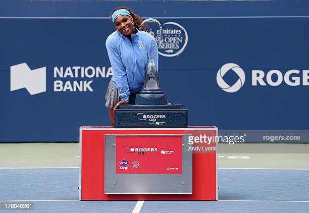 Serena Williams holds the winner's trophy after her 62 60 win over Sorana Cirstea of Romania during the finals of Rogers Cup Toronto at Rexall Centre...