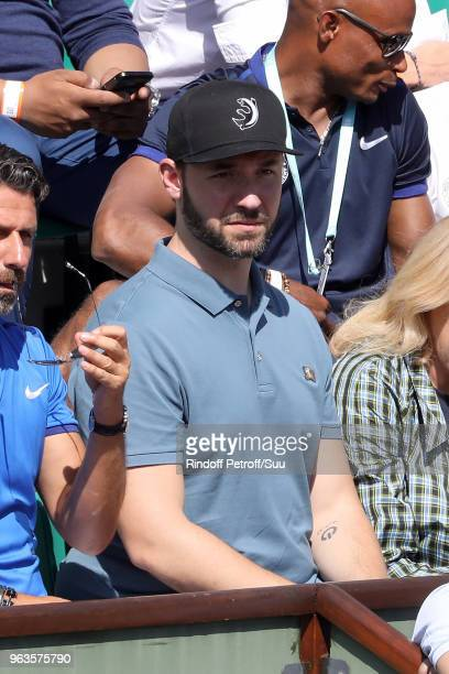 Serena Williams husband Alexis Ohanian is seen supporting his wife during the 2018 French Open Day Three at Roland Garros on May 29 2018 in Paris...