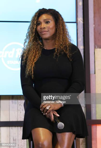 Serena Williams is seen at the 2018 Miami Open Hard Rock Stadium Ground Breaking Ceremony at Hard Rock Stadium on March 19 2018 in Miami Florida