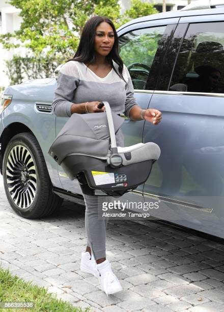 Serena Williams is seen carrying a Nuna PIPA lite car seat on October 17 2017 in West Palm Beach Florida