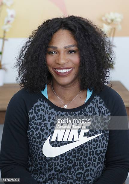 Serena Williams is seen during the Miami Open Media Day at Crandon Park Tennis Center on March 22 2016 in Key Biscayne Florida