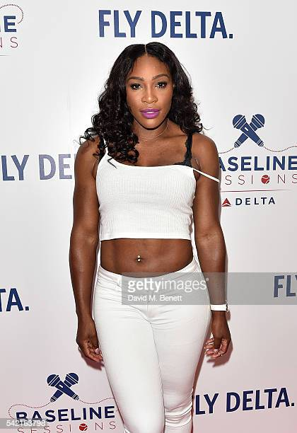 Serena Williams joins Delta Air Lines for 'Baseline Sessions' a private karaoke event to celebrate London's most iconic tennis tournament at the W...