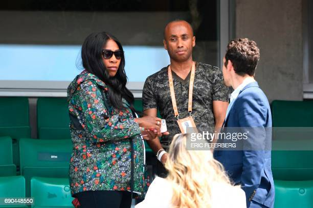 US Serena Williams leaves after attending her sister US Venus Williams' tennis match against Japan's Kurumi Nara at the Roland Garros 2017 French...